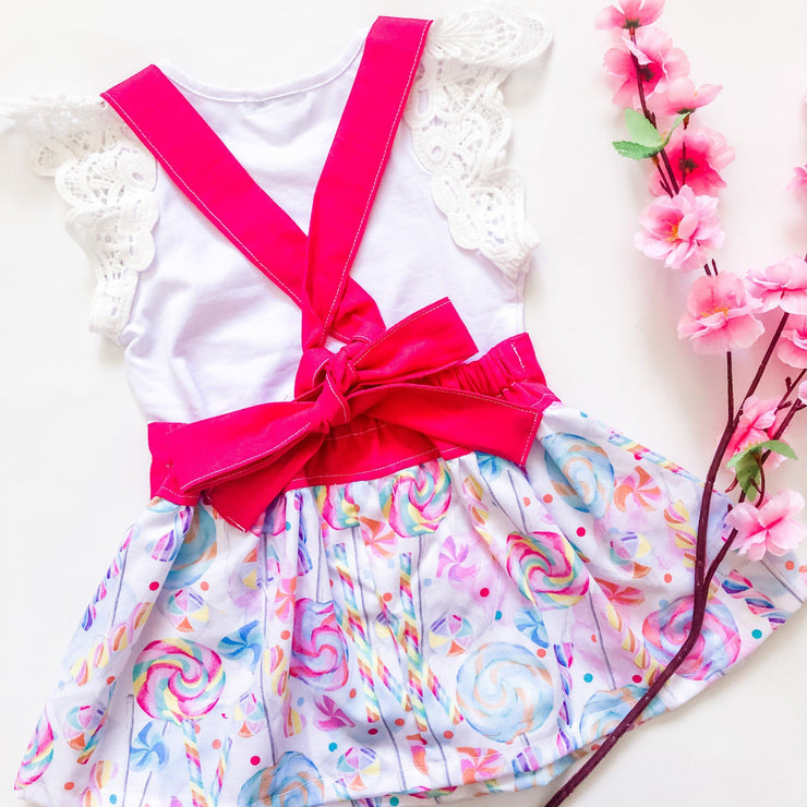 Suspender Skirt - Candy - Mini Mooches is an Australian owned business specialising in handmade clothing and accessories for girls aged between 1-10. Beautifully designed Floral Dresses, Peplum Tops, Suspender skirts and shorts. Special occasions to everyday wear.