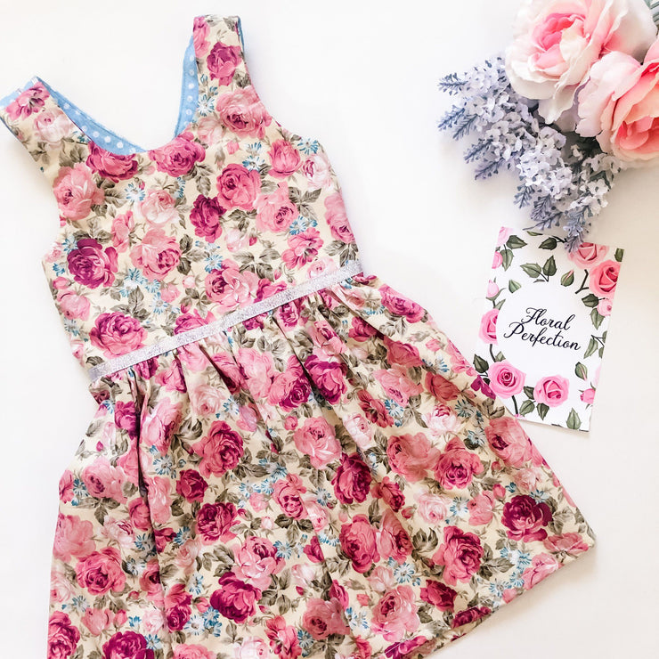 Summer Dress - Tessa - Mini Mooches is an Australian owned business specialising in handmade clothing and accessories for girls aged between 1-10. Beautifully designed Floral Dresses, Peplum Tops, Suspender skirts and shorts. Special occasions to everyday wear.