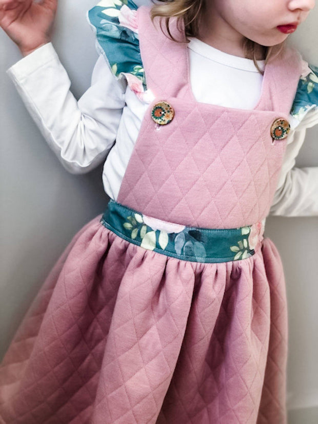 Overall Dress - Amy - Mini Mooches is an Australian owned business specialising in handmade clothing and accessories for girls aged between 1-10. Beautifully designed Floral Dresses, Peplum Tops, Suspender skirts and shorts. Special occasions to everyday wear.