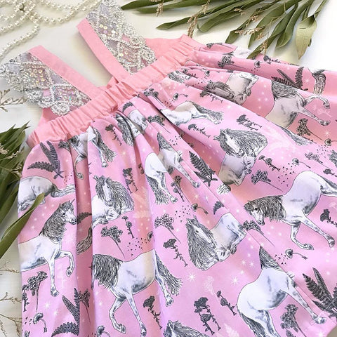 Unicorns in Pink and Black Hummingbird Dress