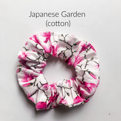 Scrunchies - Japanese Garden - Mini Mooches is an Australian owned business specialising in handmade clothing and accessories for girls aged between 1-10. Beautifully designed Floral Dresses, Peplum Tops, Suspender skirts and shorts. Special occasions to everyday wear.