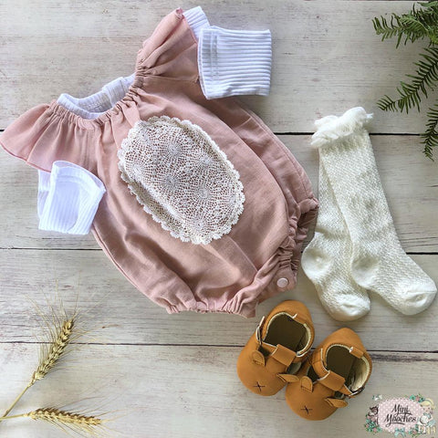 Exclusive Linen Pink Seaside Romper