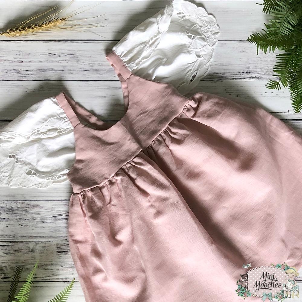Exclusive Linen Hummingbird Dress - Pink