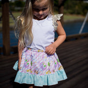 Twirly Skirt - Pearl - Mini Mooches is an Australian owned business specialising in handmade clothing and accessories for girls aged between 1-10. Beautifully designed Floral Dresses, Peplum Tops, Suspender skirts and shorts. Special occasions to everyday wear.