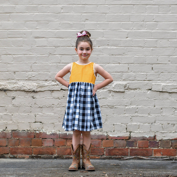 Mustard and gingham dress, handmade sizes  0-8. Afterpay available