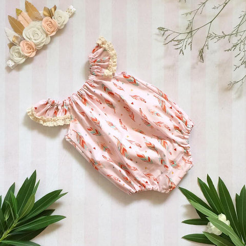 Boho Baby Feather Seaside Romper