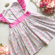 Pinafore Dress - Rapunzel - Mini Mooches is an Australian owned business specialising in handmade clothing and accessories for girls aged between 1-10. Beautifully designed Floral Dresses, Peplum Tops, Suspender skirts and shorts. Special occasions to everyday wear.