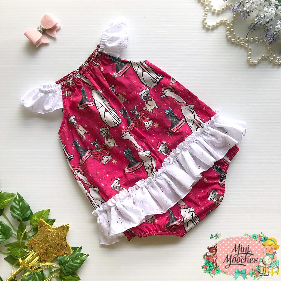 Doggy Christmas Red Seaside Romper