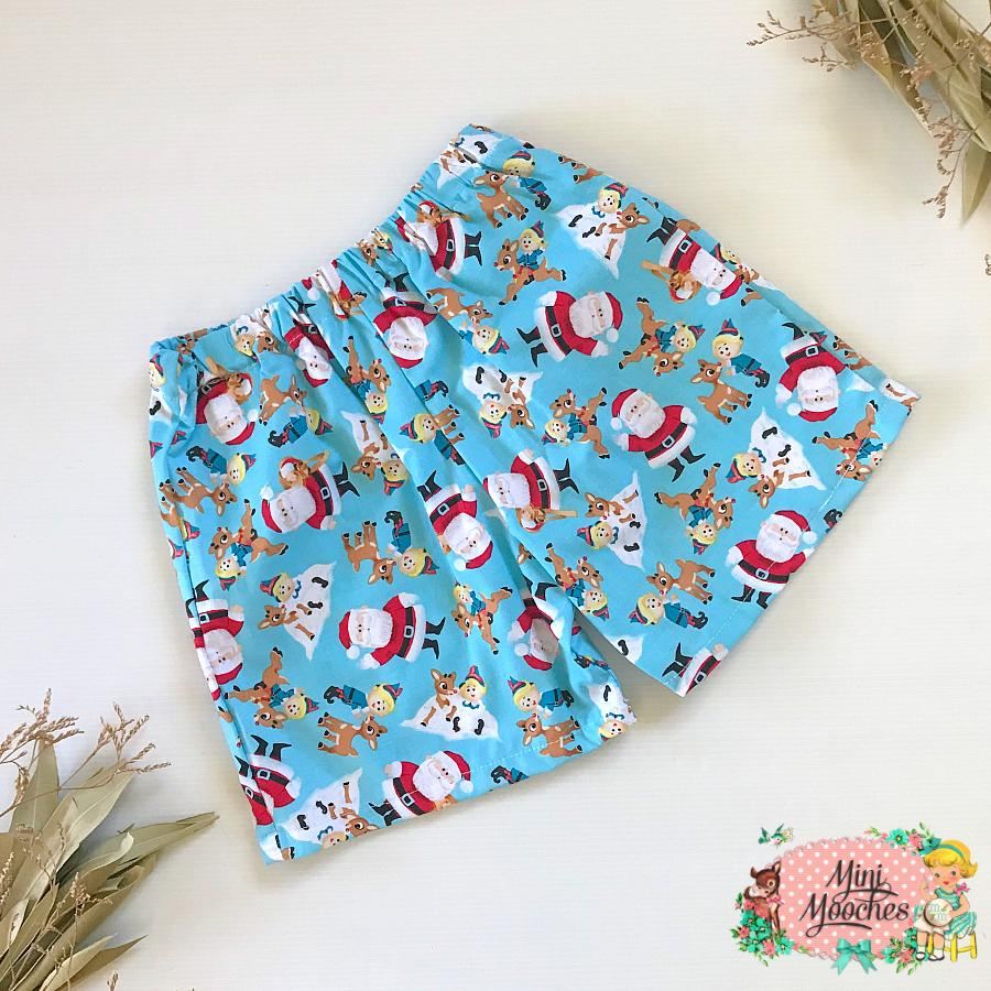Bright Blue Santa Boys Shorts