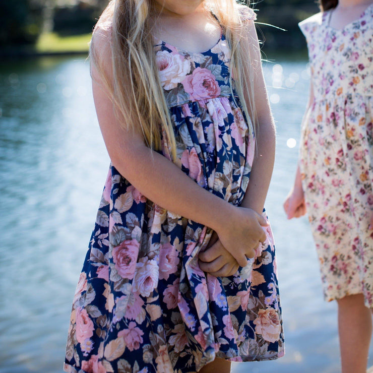 Humming Bird Dress - Hannah - Mini Mooches is an Australian owned business specialising in handmade clothing and accessories for girls aged between 1-10. Beautifully designed Floral Dresses, Peplum Tops, Suspender skirts and shorts. Special occasions to everyday wear.