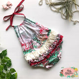 Reindeer Cream 3frill Play-suit - Pre Order