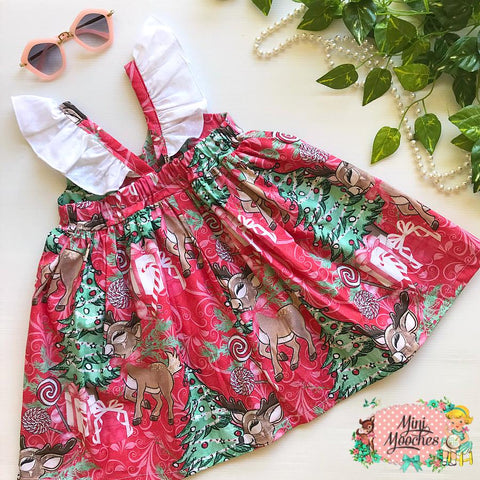 Reindeer Red Swirl Hummingbird Dress
