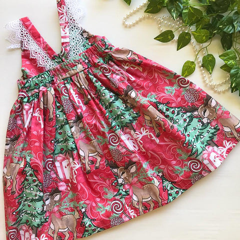 Reindeer Red Swirl Lace Hummingbird Dress