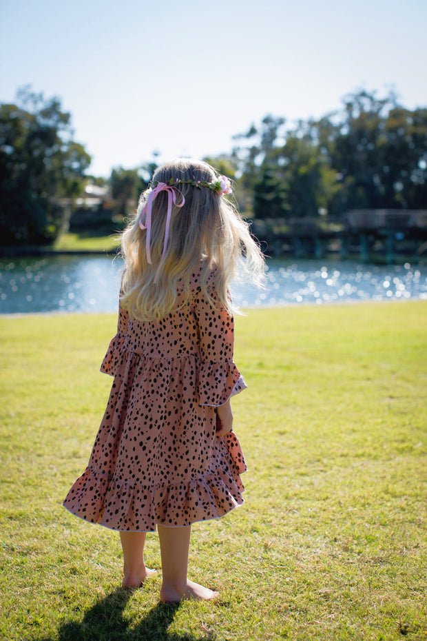 Boho Dress - Ruby - Mini Mooches is an Australian owned business specialising in handmade clothing and accessories for girls aged between 1-10. Beautifully designed Floral Dresses, Peplum Tops, Suspender skirts and shorts. Special occasions to everyday wear.