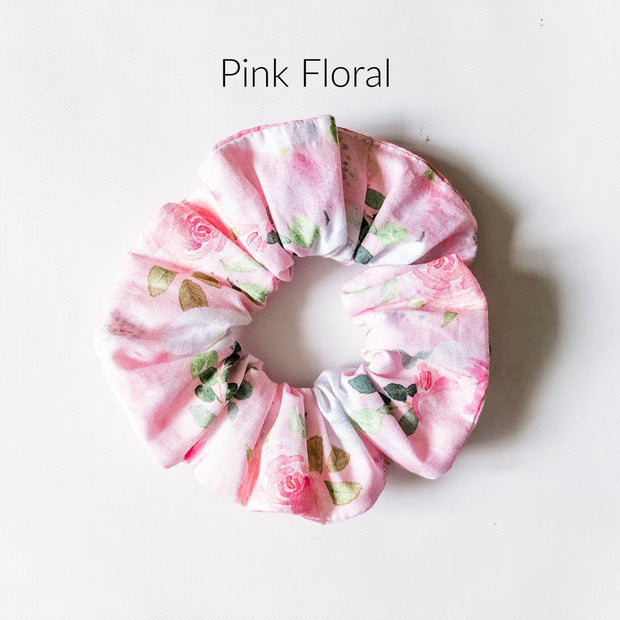 Scrunchies - Pink Floral - Mini Mooches is an Australian owned business specialising in handmade clothing and accessories for girls aged between 1-10. Beautifully designed Floral Dresses, Peplum Tops, Suspender skirts and shorts. Special occasions to everyday wear.