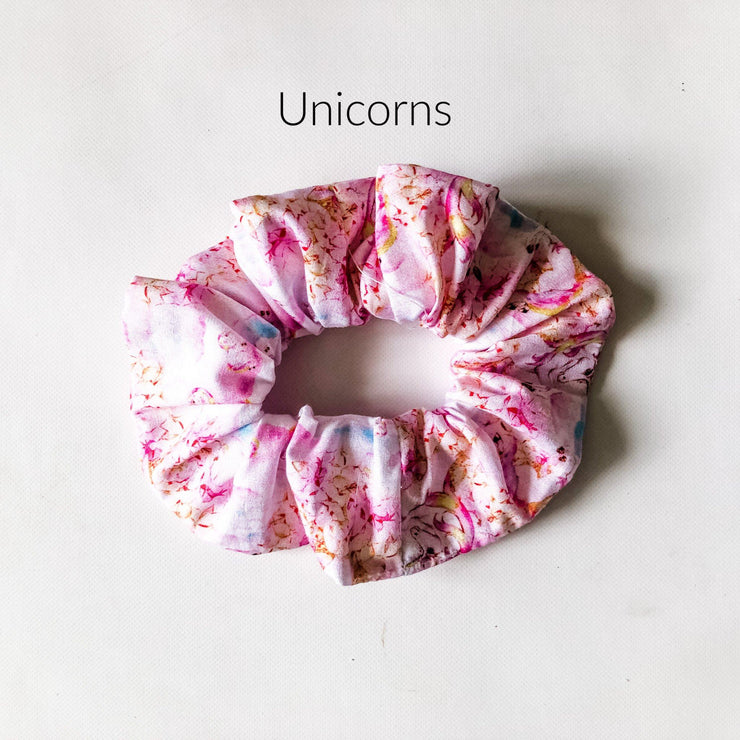 Scrunchies - Unicorn - Mini Mooches is an Australian owned business specialising in handmade clothing and accessories for girls aged between 1-10. Beautifully designed Floral Dresses, Peplum Tops, Suspender skirts and shorts. Special occasions to everyday wear.