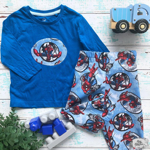 Boys Blue Spiderman Harem Pants Set