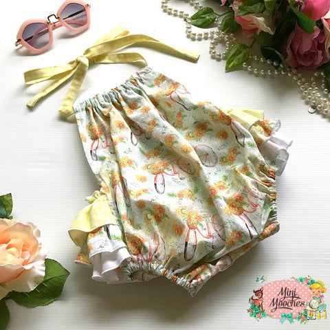 Sunflowers 3frill Play-suit - Pre Order