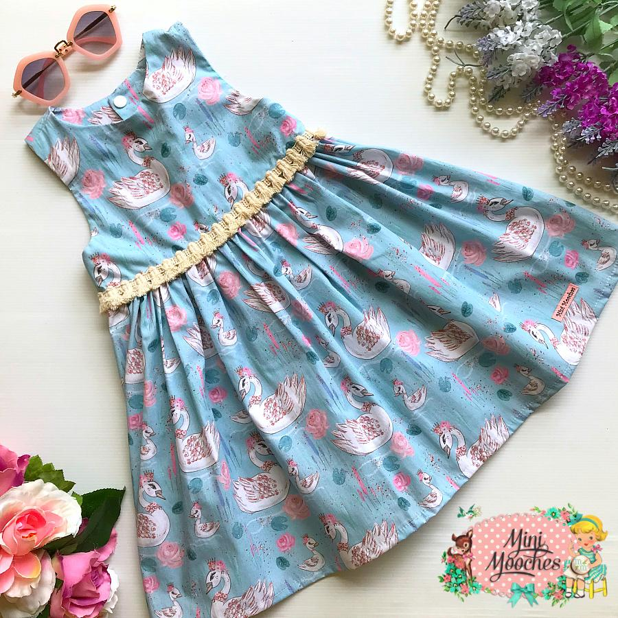 Baby Animal Blue Swan Racer Back Tea Party Dress - Pre Order
