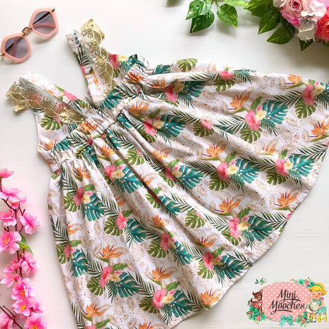 Tropical Vibes White Floral Hummingbird Dress - Pre Order