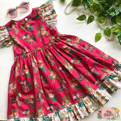 Tropical Vibes Hula Red Racer Back Tea Party Dress - Pre Order