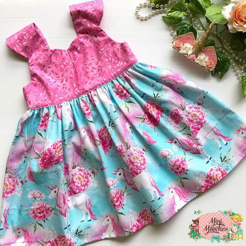 Aqua Unicorns Tea Party Dress