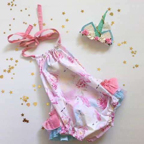 Pastel Unicorn 3frill Play-suit
