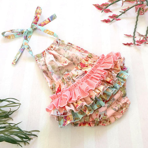 Pink Sunray 3frill Play-suit - Pre Order