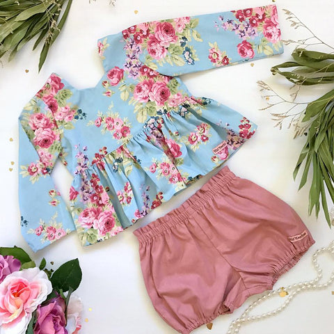 Blue Winter Sky Tea Party Top & Shorts Set
