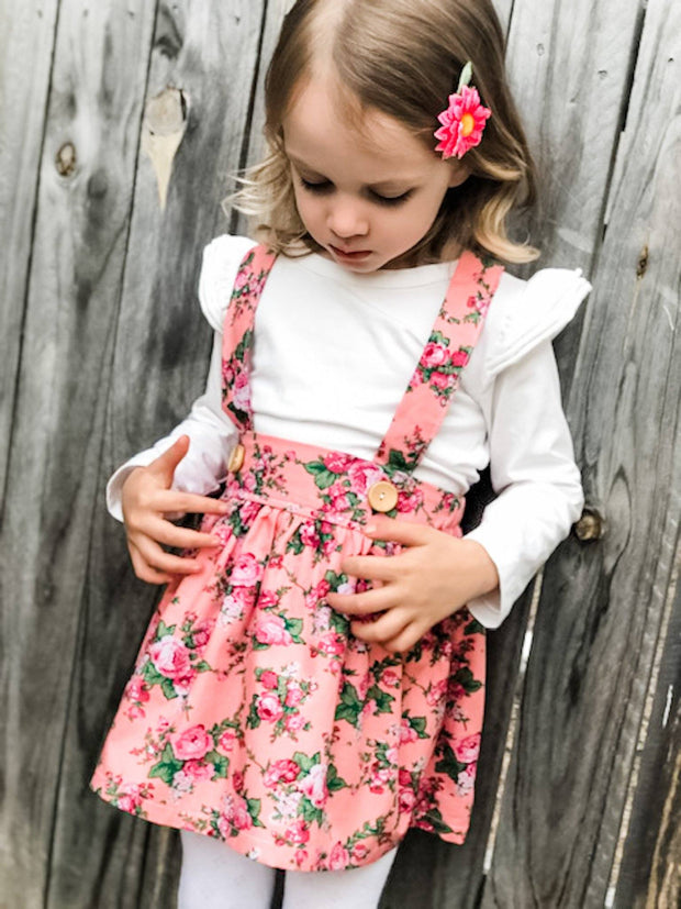 Suspender Skirt - Rose - Mini Mooches is an Australian owned business specialising in handmade clothing and accessories for girls aged between 1-10. Beautifully designed Floral Dresses, Peplum Tops, Suspender skirts and shorts. Special occasions to everyday wear.