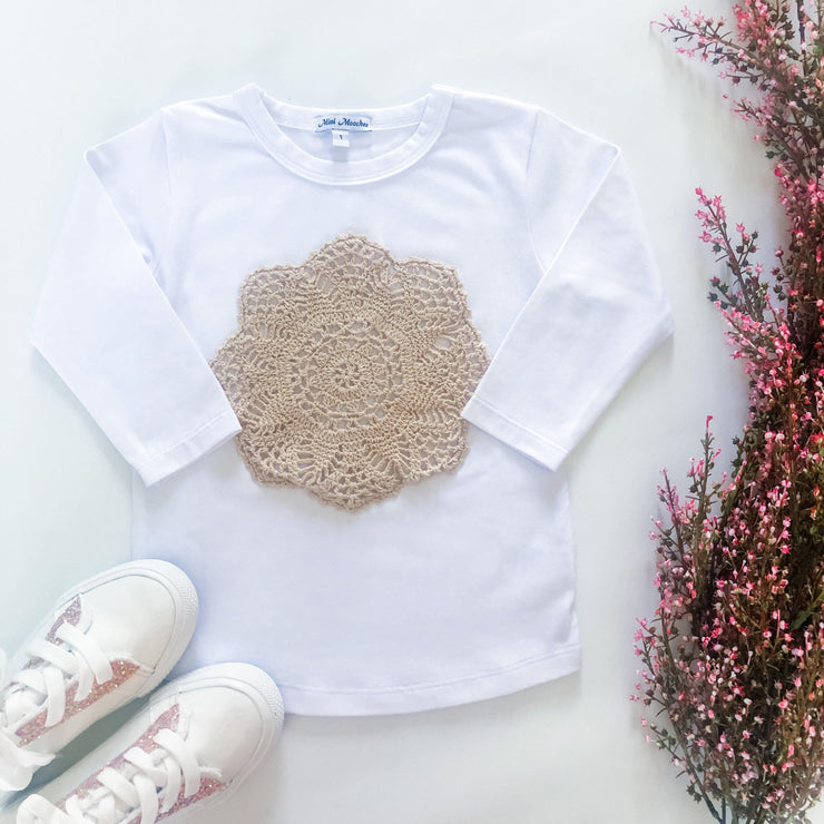 MM Dolly Long Sleeve Tee - Mini Mooches is an Australian owned business specialising in handmade clothing and accessories for girls aged between 1-10. Beautifully designed Floral Dresses, Peplum Tops, Suspender skirts and shorts. Special occasions to everyday wear.