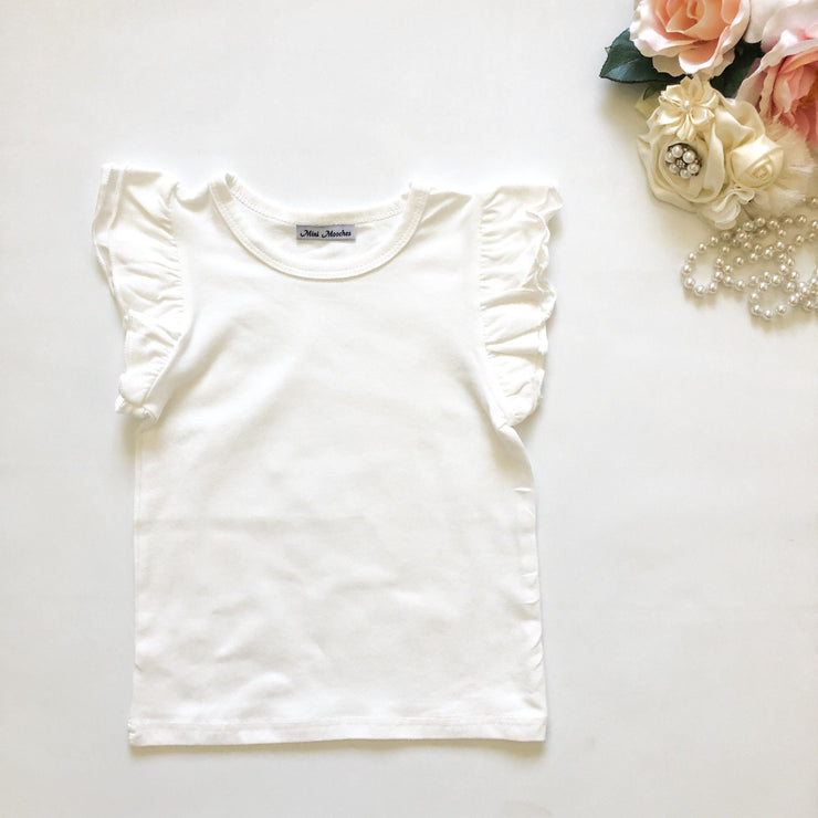 Flutter Tee - Vanilla - Mini Mooches is an Australian owned business specialising in handmade clothing and accessories for girls aged between 1-10. Beautifully designed Floral Dresses, Peplum Tops, Suspender skirts and shorts. Special occasions to everyday wear.