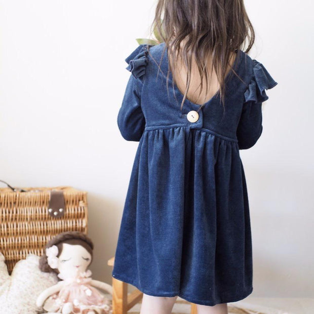 Tea Dress - Cord  Navy - Mini Mooches is an Australian owned business specialising in handmade clothing and accessories for girls aged between 1-10. Beautifully designed Floral Dresses, Peplum Tops, Suspender skirts and shorts. Special occasions to everyday wear.