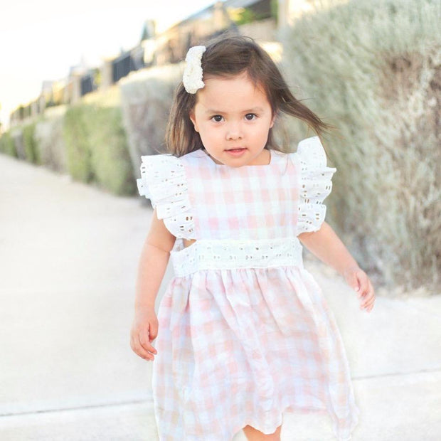 Pinafore Dress - Macy - Mini Mooches is an Australian owned business specialising in handmade clothing and accessories for girls aged between 1-10. Beautifully designed Floral Dresses, Peplum Tops, Suspender skirts and shorts. Special occasions to everyday wear.
