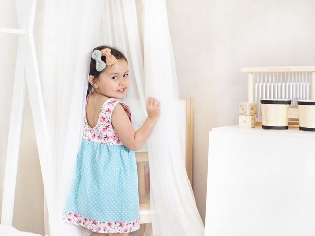 Tea Dress - Leeza - Mini Mooches is an Australian owned business specialising in handmade clothing and accessories for girls aged between 1-10. Beautifully designed Floral Dresses, Peplum Tops, Suspender skirts and shorts. Special occasions to everyday wear.