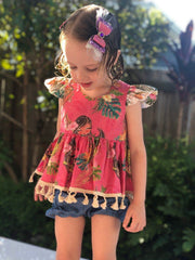 Peplum Top - Aloha - Mini Mooches is an Australian owned business specialising in handmade clothing and accessories for girls aged between 1-10. Beautifully designed Floral Dresses, Peplum Tops, Suspender skirts and shorts. Special occasions to everyday wear.