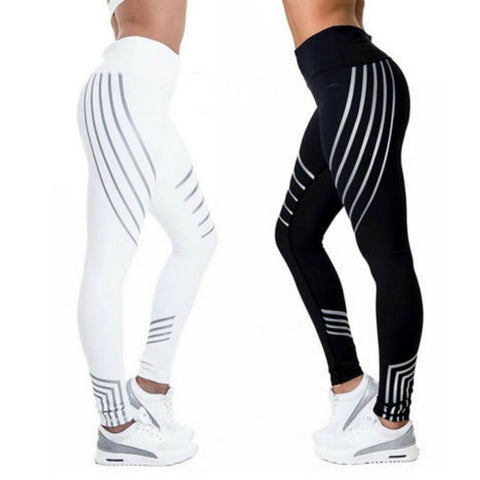 Black&White Striped Printed Leggings