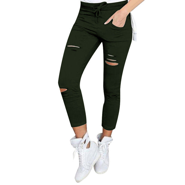 Hole Sweatpants Women Leggings