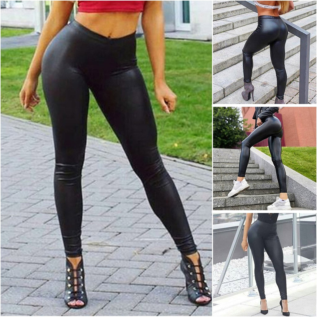 Women's Leather Pure Color Bottom Pants