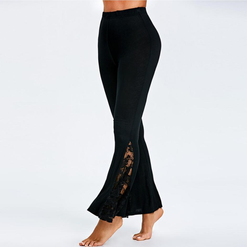Lace stitching high waist flared Leggings