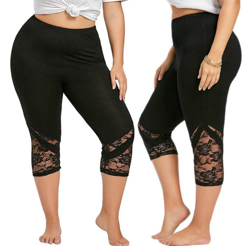 Women Lace Patchwork Skinny Leggings