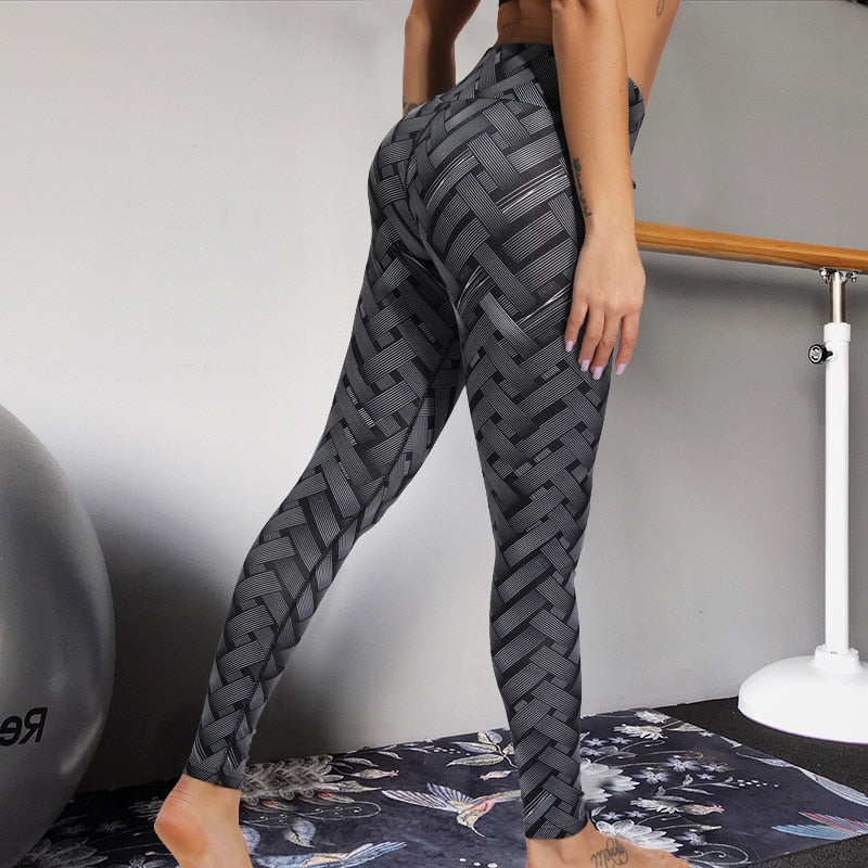 Sexy High Waist Fitness Iron weave Leggings