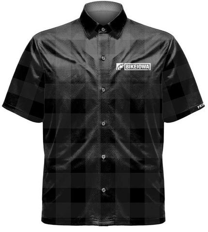 BIKEIOWA Black Plaid Crew Shirt