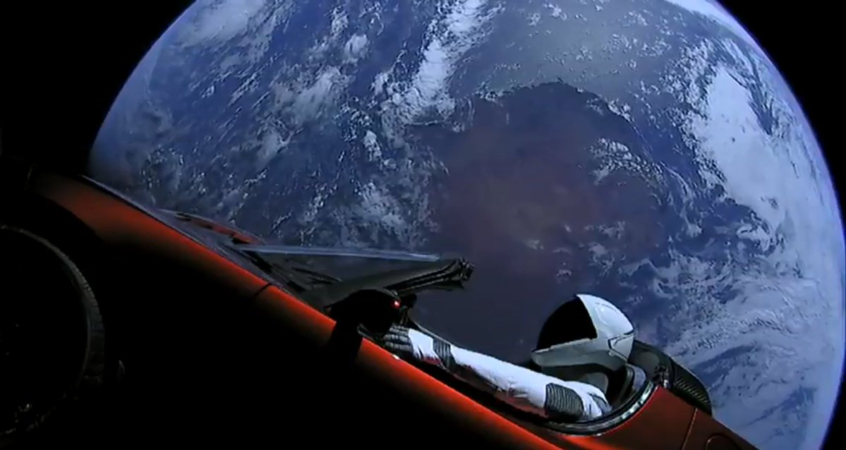 Live coverage of SpaceX Elon Musk's Starman Driving a Tesla in Space