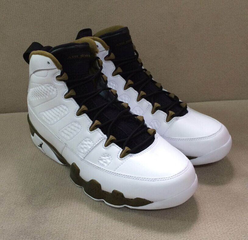this air jordan 9 features a white black and militia green color scheme. the shoe will feature a ful