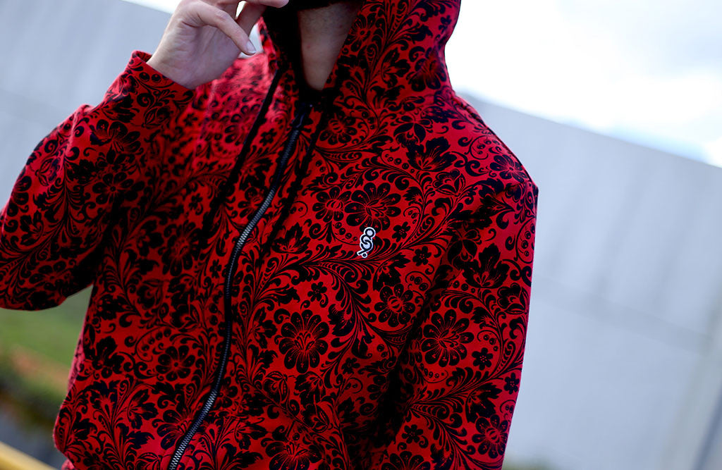 Red Khoklohoma Zip Up Hoodie details