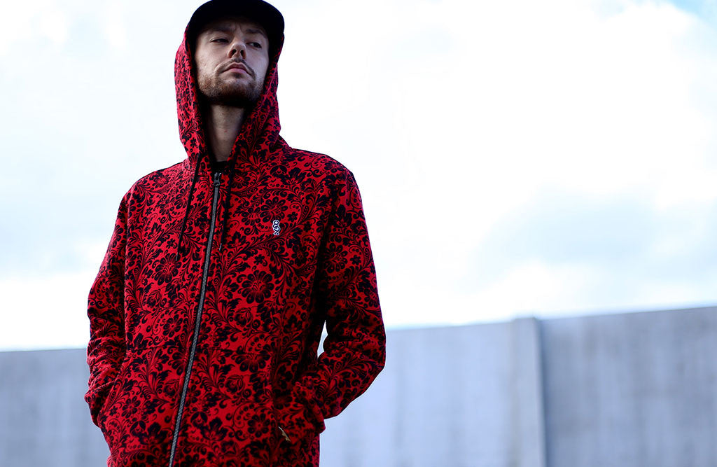 Red Khoklohoma Zip Up Hoodie front