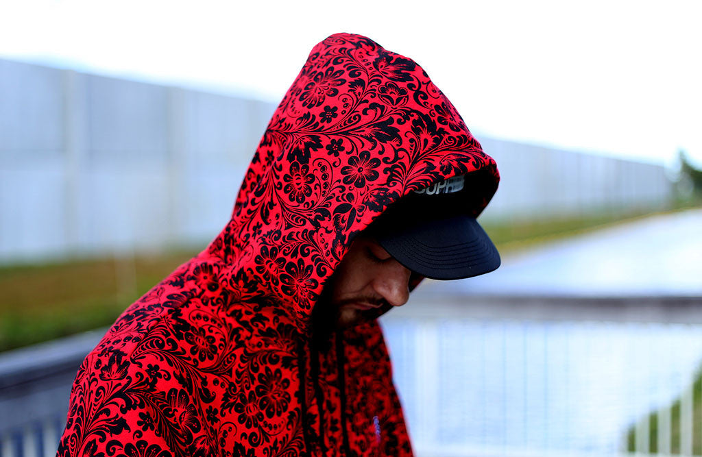 Red Khoklohoma Zip Up Hoodie sweatshirt