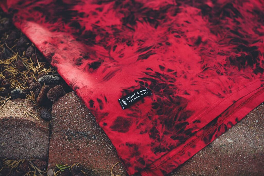 Red Premium Cut And Sew Justice Shirt woven label