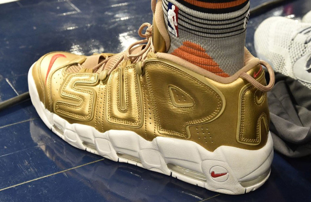 Supreme x Nike Air More Suptempo Release gold on foot